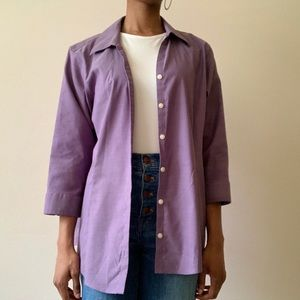 purple eddie bauer button down blouse